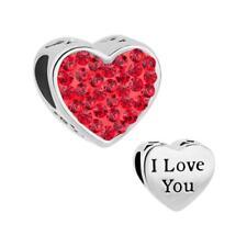 PANDORA I Love You Crystal Bracelet Bead Charm Mum Mother Daughter Wife Gift