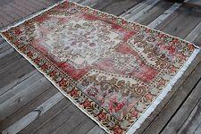 "Vintage Handmade Turkish Oushak Wool Red Area Rug Carpet 229x127 cm, 90""x50"""