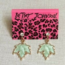 Betsy Johnson Crystal Stud with Dangling Maple Leaf Enamel Earrings Unique Style
