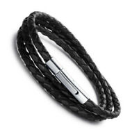 Genuine leather braided wrap bracelet stainless steel bayonet clasp