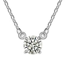 18K WHITE GOLD GP Made With SWAROVSKI CRYSTAL Basic Round White Color NECKLACE