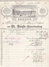Schöne alte Litho-Rechnung 1878 Nagold Württemberg Ch. geigle Samenhandlung