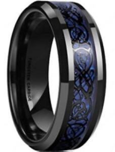 Mens Tungsten Carbide Ring Black Celtic Dragon on Blue Carbon Fiber Wedding Band