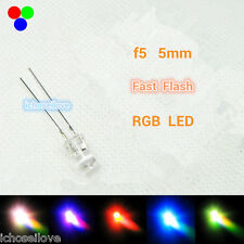 50Pcs F5 5mm MultiColor Rainbow Fast Flashing Flash RGB Red Blue Green LED Leds