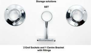 Wardrobe fittings: 19mm Chrome End Sockets and Centre Bracket SET, with fittings