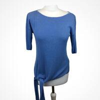 Mint Velvet Blue Rib Knit Asymetric Tie Front Jersey Top Linen Blend Sz 12
