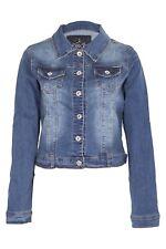 Womens Basic Denim Crop Jacket Vintage Wash Look Stretch Full Sleeve Jean Coat