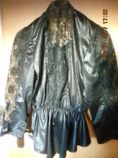 Bluse - Top - Shirt - Zipfel Jacke - Spitze - schwarz - Kroko - Gr. 38/M