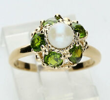 Pearl peridot ring 14K yellow gold oval 1.50CT 5.1 MM floral style 4 GM sz 5 1/2