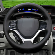 Black Genuine Leather DIY Car Steering Wheel Cover for Honda Civic 2011-2015