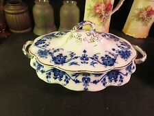 "S. Hancock & Sons ""Linden"" Flow Blue Oval Covered Vegetable Bowl"