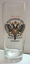 Reichsadler Brau - Josef Fuchs - Steppach Germany - .5 ltr Beer Glass - 1431