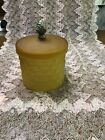 Vintage Frosted Amber Glass Quilted Diamond Apothecary Jar