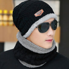 2pcs/set Men's Winter Beanie Hat Scarf Warm Knitted Skull Cap with Scarf Unisex