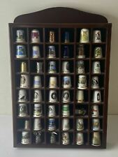 More details for large collection of 48 highly collectible souvenir & china thimbles with shelf