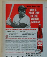 1969 magazine ad for Frank's Red Hot Sauce - Willie Mays, World Series contest