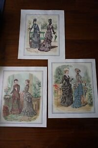 3 VICTORIAN LADIES FASHION PARIS GOWN DRESSES ETCHING PRINTS
