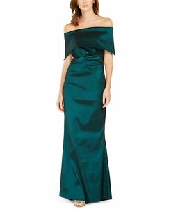 Vince Camuto Womens Gown Green Size 14 Off Shoulder Satin Foldover $188 353