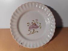 Assiette faience 18 th XVIII siecle fleur bord festonné céramique française