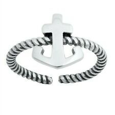 Anchor Toe Ring Genuine Sterling Silver 925 Best Jewelry Gift Face Height 10 mm