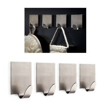 Hot 4X Adhesive Kitchen Wall Door Stainless Steel Self Stick Holder Hook Hanger