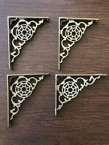 Brass Ornate Design Shelf Brackets Pair 6 X 5 ~ 4 Total