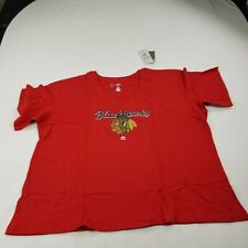 Blackhawks Chicago hockey Red T shirt 3X Womens V Neck New NHL aa ed