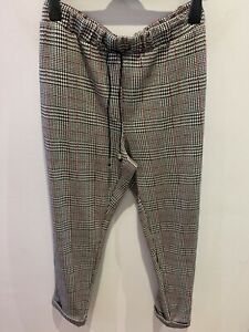 EX MARKS&SPENCER LADIES CHECK PRINT TEXTURED TROUSERS VARIOUS SIZES/LENGTHS