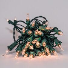 "Christmas Lights - Clear Mini Light 6"" Spacing Green Wire 50 Bulbs"