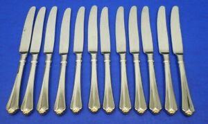 """12 - Oneida GOLDEN JUILLIARD Glossy Cube Stainless Flatware 9 1/2"""" DINNER KNIVES"""