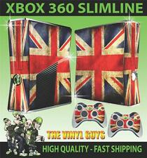 XBOX 360 SLIM STICKER UNION JACK FLAG SKIN & 2 PAD SKINS