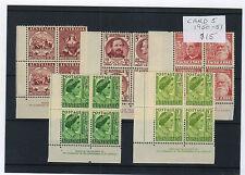 1950-51 Selection of 5 different Aust Pre Decimal Imprint Blocks of 4 (MUH)