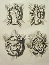 1795 PRINT GOTHIC ORNAMENT YORK MINSTER ~ FOUR KNOTS CEILING OF THE CHOIR END