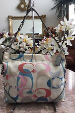 Coach Carly Med. Signature Multicolor Optic Hobo Shoulder Bag Purse F16274 EUC