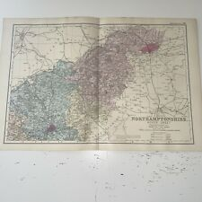 c1889 Northamptonshire Northants North British Isles Map Bacon Antique Vgc