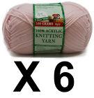 Knitting wool 6 x 100g acrylic yarn 8ply Pastel Pink 100% Brand New