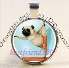 Pug dog Photo Cabochon Glass Tibet Silver Chain Pendant Necklace