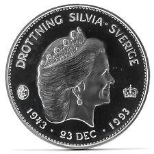 200 Kronen Silber Münze Silvia 1993 Etui Silver Coin Sweden case Gedenkmünze