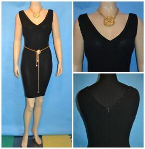 St John Evening Knits Black Dress L 10 Sleeveless Sheath Pailettes Studs