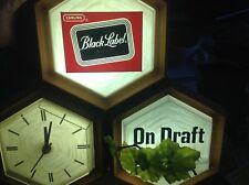 Vtg Carling Black Label Beer Cash Register Light sign Fluorescent 1967 Clock