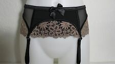 Victoria's Secret Garter Belt Black Mesh w/ Gold Lace Size: XS/S FREE SHIPPING