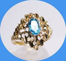 PRETTY 14K YELLOW GOLD BLUE TOPAZ RING - SIZE 7