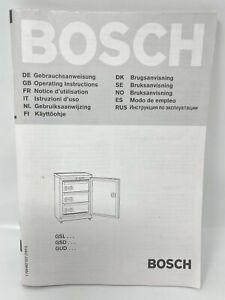 Bosch GSL GSD GUD Series Under Counter Freezer Instructions Guide Manual
