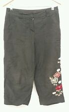 Wallis Black Trousers Size 10 Floral Embroidered 3/4 lengths <J2682