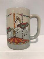 Vintage Otagiri Carousel Horse Coffee Mug Tall Blue Stoneware