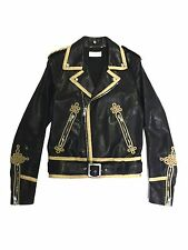 SAINT LAURENT SS15 MENS GOLD EMBROIDERED OFFICER MOTORCYCLE BIKER LEATHER JACKET