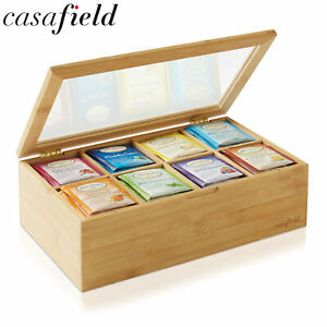 Bamboo Tea Box Organizer, Storage Chest for Tea Bags and Packets w/ Hinged Lid