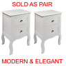 2 x White Bedroom Bedside Table Unit Cabinet Nightstand with 2 Drawers in Each