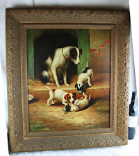 Gorgeous Flemish school Oil panel painting Dog with puppies playing signed 1930