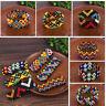 Multi-Color Printing Patterned Beads Bracelet Handmade Elastic Wristband Bangle